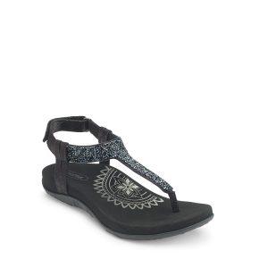 Jade - Sandale pour femme en cuir couleur noir de marque Aetrex
