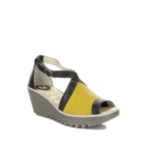YACE163FLY - Sandale pour femme en cuir couleur jaune de marque Fly London