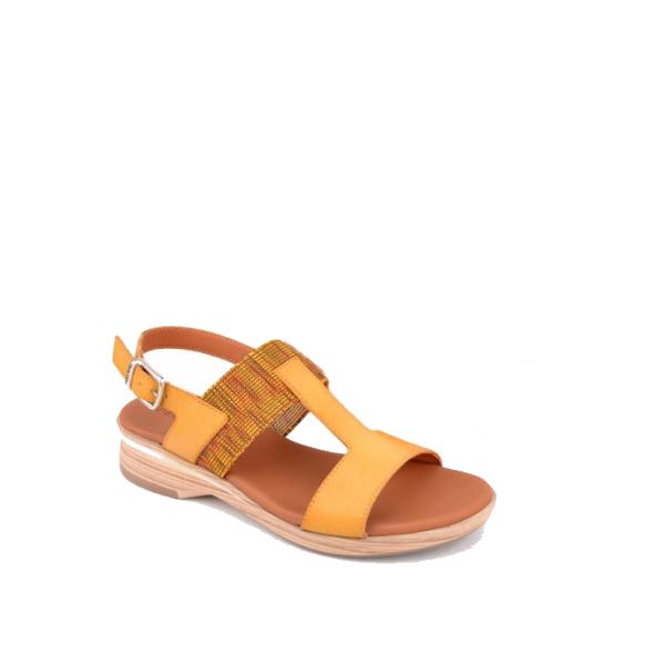 Nabuk - Sandale pour femme en cuir couleur moutard de marque Paula Urban