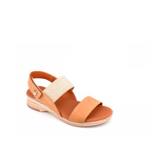 Nabuk - Sandale pour femme en cuir couleur Chameau de marque Paula Urban