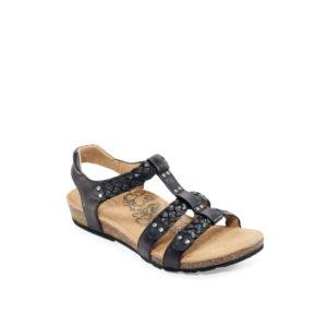 Reese - Sandale pour femme en cuir couleur noir de marque Aetrex