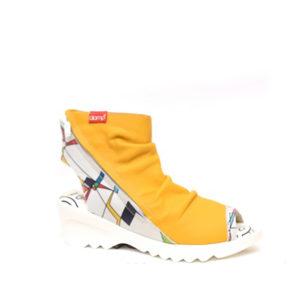 Adina - Sandale pour femme en cuir couleur jaune de marque Clamp