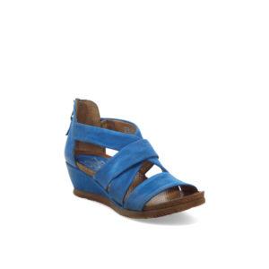 Mika - Sandale pour femme en cuir couleur denim de marque Miz Mooz