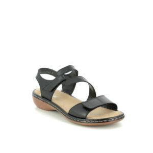 659C7-00 - Sandale pour femme cuir couleur noir de marque Rieker