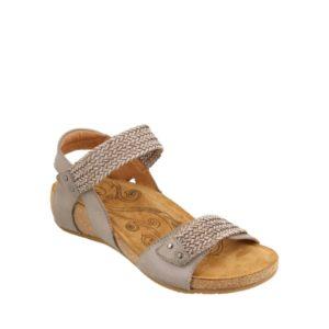 Bonnie - Sandale pour femme en cuir couleur gris de marque Taos