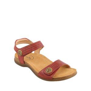Pioneer - Sandale pour femme en cuir couleur rouge de marque Taos