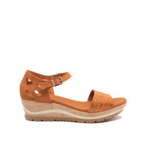 Galaxia - Sandale pour femme en cuir couleur orange de marque Paula Urban