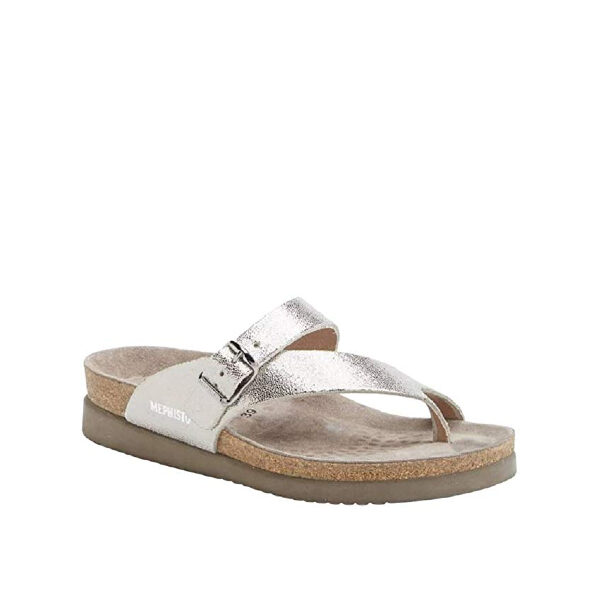 Helen Luna - sandale pour femme en cuir couleur argent de marque Mephisto