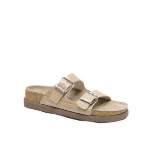 Helda Plus - Sandale pour femmes en cuir sable de marque Mephisto