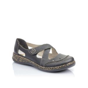 46335 - Chaussure pour femme en cuir couleur noir de marque Riker